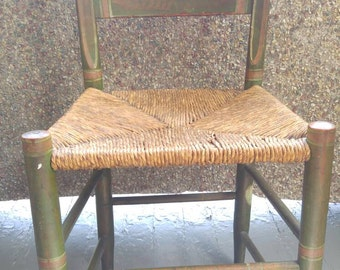 Antique painted thatched Reed wooden accent chair original finish green designs