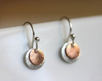 Tiny Disc Earrings, Silver Rose Gold Mix, Sterling Jewelry, Minimalist