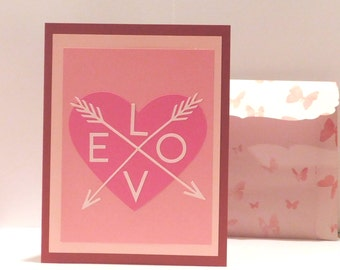 Love arrow greeting card, Blank card, Valentine's Day, Anniversary
