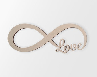 Wall Decor, Infinity Love Monogram - Cutout, Home Decor, Unfinished and Available from 1 to 42 Inches Wide
