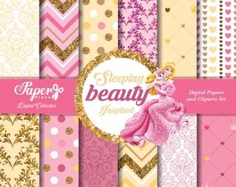 Princess Aurora Sleeping Beauty Digital Scrapbook Paper and Cliparts set, Pink, Yellow, Gold Patterns, Chevron, Stripes, Glitter