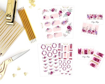 Burgundy flowers stickers