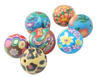 100 Handmade Polymer Clay Round Beads 8mm (B3a)