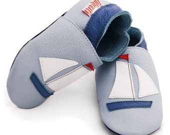 Soft sole leather baby shoes - Sail Boat