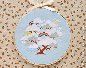 Gift Purchase Whimsical Cloud Tree with Rainbows Easy Beginners Cross Stitch Pattern PDF