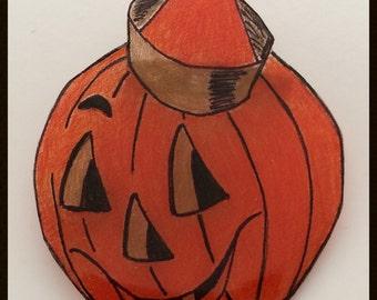 Retro Style Jack O Lantern Shrink Plastic Brooch Pin Halloween Pumpkin