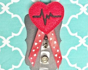 EKG heart badge holder great for nurses or teachers!