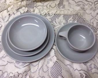 Vintage Watertown Melmac Melanine Lifetime Ware Cup Saucer Bowl Plate Gray Grey Picnic Dinnerware Tableware Outdoor