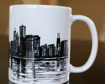 Chicago Illinois Skyline Cityscape Panorama Art Drawing Sketch Mug