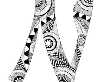 Letter N Monogram Print - Zentangle Inspired