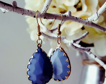 Gold and Periwinkle Earrings