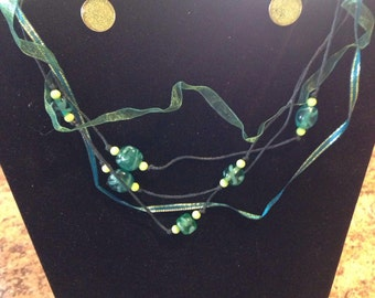 Aqua and lime green necklace and earring set