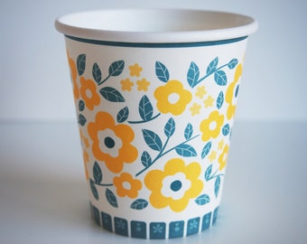 20 disposable cups flowers vintage cardboard / / retro / / disposables / party / / / cup/day / / / birthday/wedding / / picnic / / picknick