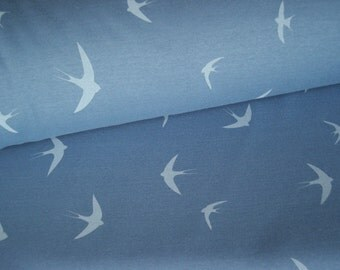 ALPENFLEECE smoke-blue with a bird motif