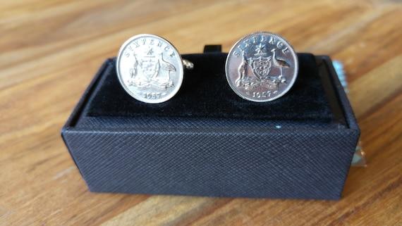 Australian 6d Sixpence Silver Coin Cufflinks Australian Coat