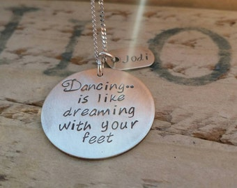 Dance necklace, dance teacher gifts, dancing is like dreaming with your feet, dancer  necklace, dance teacher thank you gift, dancer gifts