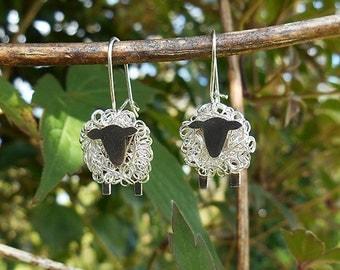 Silver sheep drop earrings, sheep gift, sheep, sheep jewellery, sheep jewelry, Welsh gift, Welsh jewellery, Suffolk sheep, silver sheep