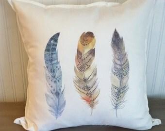 feather pillow feather pillow cover feather cushion feather throw pillow feather print
