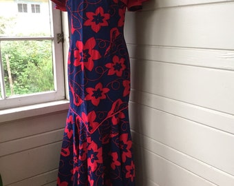 Vintage Hawaiian maxi wiggle dress