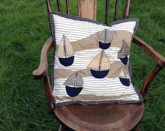 Seaside inspired sailboat cushion cover