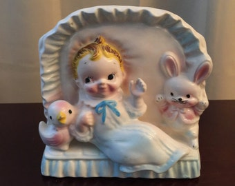 Vintage Ceramic Baby Planter  ~  Vintage Nursery Decor Kitsch made in Japan