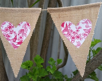 ON SALE!! Hessian/burlap bunting with cherry blossom patterned love hearts. Perfect backdrop at a wedding.