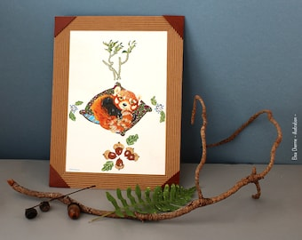 The red panda and its delicacies, child painting, child animals, illustration, designs, animal painting