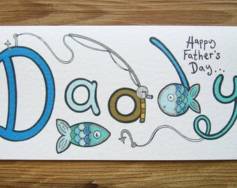 Fishing Themed Father's Day Card, Fishing Father's Day Card, Father's Day Card, Fishing Card, Father's Day Fishing Card.