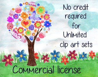 Commercial License NO Credit required - applies to all of my products,  Unlimited clip art sets