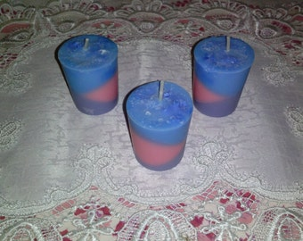 Votive Candles 3 Soy Candles Fragrance Oil Scented - Tri-Colored - Lilac