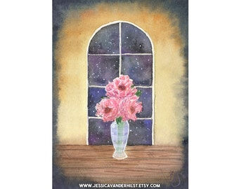 """5""""x7"""" Art print: Watercolour peonies in translucent vase in front of arched window and starry night sky 