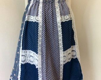 Vintage 1960's / Boho Chic / Hippie / Blue / Patchwork / Skirt
