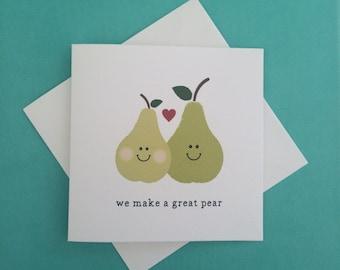 Valentine's 'great pear' Mini Greeting Card