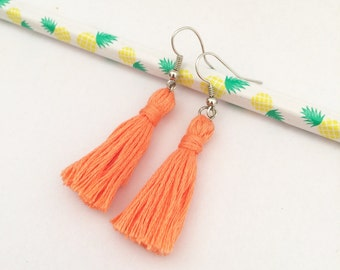 Coral peachy orange tassel earrings nickel free / jewelry/ cotton tassel earrings/ vibrant earrings/ dangle earrings/ festive jewelry