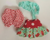 Tilda Sweetheart doll clothes, red ruffled polka dots and mint floral top, red polka dot bloomers, mint headband with bow, easy to use.