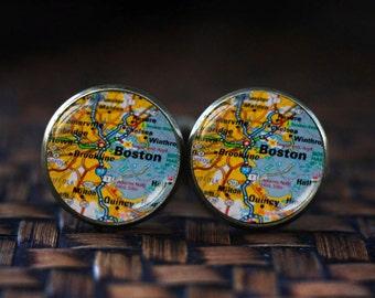 Boston map cufflinks, Boston cufflinks, Boston map jewelry, travel map cufflinks, map cufflinks