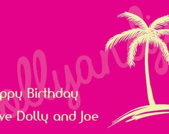 Personalised Palm Tree Birthday Gift Sticker (8.6cm x 4.9cm)