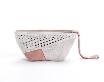 Small evening purse-Wristlet purse-Unique leather purse-Soft leather bag-Clutch purse-Cosmetic bag-Studded leather bag-Rose quartz bag
