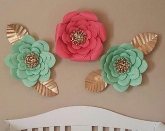 Set of 3 Paper Flowers. Coral and mint with Gold