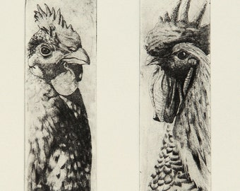 A Pair of Chickens, Hand Printed Wall Art. A Unique Limited Edition Solarplate Animal Print.