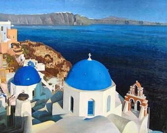 Greek Isle Churches Homes Mediterranean Seascape handmade  Oil Painting On Canvas no frame
