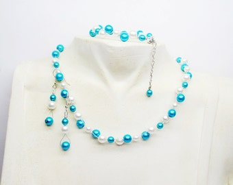 Turquoise and white wedding necklace, bracelet or set, wedding dress made in france