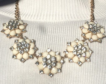Gold Metal Off White Flower Necklace With Faux Crystals