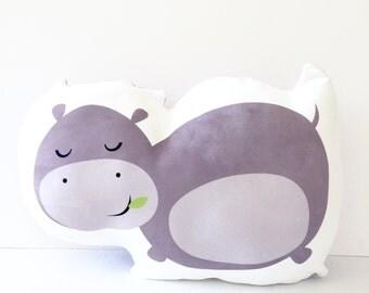 Hippo, Nursery Pillow, Hippo Pillow, Hippopotamus, Kids Pillow, Plush Hippo, Hippo Cushion, Kids Gift, Baby Gift, Kids Pillow, Baby Shower