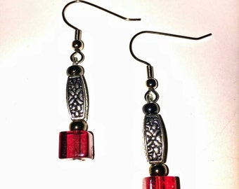 Pewter and red glass handmade earrings