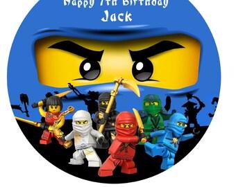 """Ninjago ninja personalised Cake Topper Edible Wafer Paper 7.5"""" ninja Jai"""