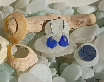 Seaglass Earrings Colbalt blue