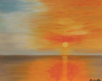 """Table """"Sky blazing"""" - landscape oil on canvas painting"""
