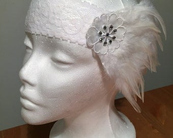Vintage White Feather and Lace Flower Headband