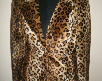 Vintage 1980's Leopard Faux Fur Blazer By Spiegal. Upholstery Weight Fabric Size M. Boho Chic/Glamour Hipster.